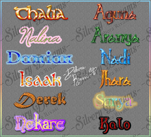 Various text style with names of my OCs by SilveryLugia