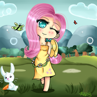 Chibi Fluttershy and Angel(speedpaint) by Miss-Jazzmatazz