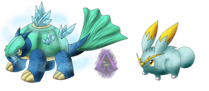 Nijitaki Fakemon! 103 Electrice and 107 Crystoise by arkaeldarknnes