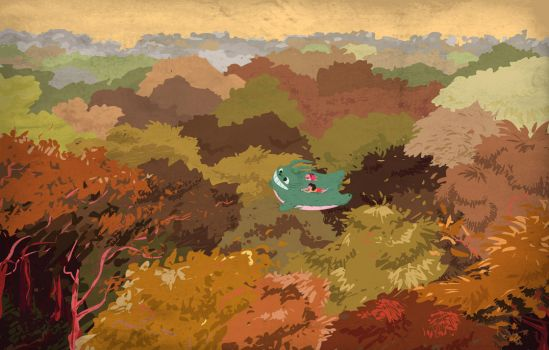 Totoro flying over forest by nickbachman