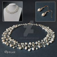 Freshwater pearl bridal jewelry set by artual