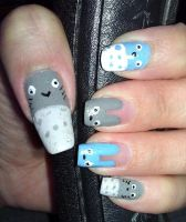 Totoro Nail Art by LexCorp213