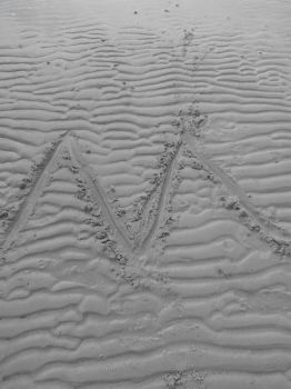 'M' Drawn in Sand by Mykul1