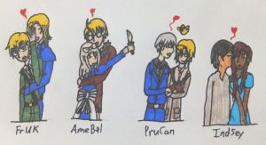 Hetalia- FACES Family Couples - Colored - by MapleBeer-Shipper
