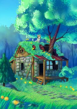 The abandoned house by deerfox-art