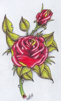 Rose Tattoo Flash by vikingtattoo