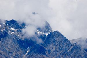 NZ Mountain peaks cloudy and blue by Chunga-Stock