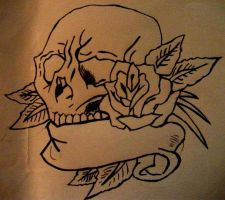 Skull and Rose Outline by Abbie-ox