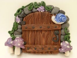 Blue Snail Fairy Door by FlyingFrogCreations