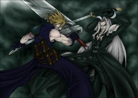 Cloud VS Sephiroth by Xabi-Wan