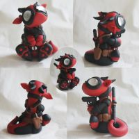 Baby Deadpool Dragon by BittyBiteyOnes
