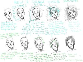 How I draw hair by Fawnwatcher
