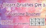Photoshop Heart Brushes Set 1 by d4rkest