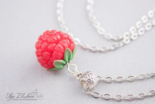 Pendant with raspberries from polymer clay by polyflowers