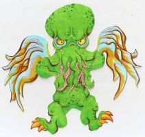 Cthulhu Paper Art Doll by burning-thirteen