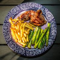 Balltip, french fries and asparagus by attomanen