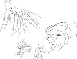 Wing designs for tattoo flash by shadrad