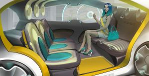 Driverless car interior by ILYASZAKKY