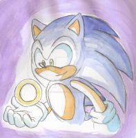 Watercolor: Sonic and a ring by ThePandamis