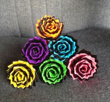 Spiral/Swirl Duct Tape Flower Pens by LishaChan
