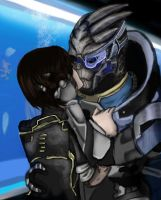 Garrus and Shepard( colored) by jenniferpistol309