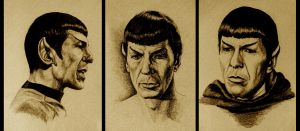Three Drawings of Mr. Spock by Ellygator