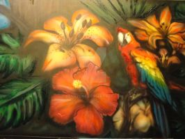 Birds and Flowers Close Right by BankyOne