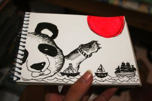Drowning Panda and a Sun by zhoumlh