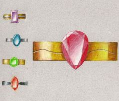 Five ring renderings - school assignment by Eisoptrophobic