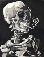 Skull with a Cigarette by Ryan-DeadPhilosopher