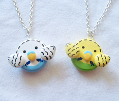 Cute Parakeet Necklaces by MariposaMiniatures