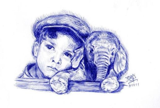 Boy and elephant by chaseroflight