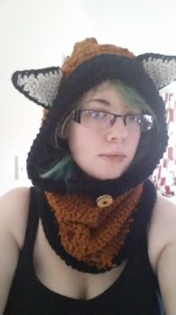Red panda hooded cowl by Gothic-Enchantress