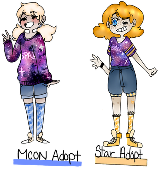 Collab adopts! Moon and Star by Owl-Mom
