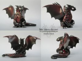 Mahogany and Black Polymer Clay Dragon by MiniMythicalMonsters