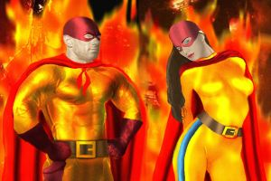 Project Superpowers: The Flame and Flame Girl by DaswookofHeromorph