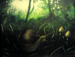 african snail and mushrooms by frankfranklin