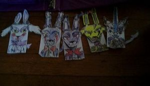 Some Of My Origami Finger Dolls I Did FNAF by KirbyBisharp