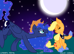 Luna and Applejack by KiRRol