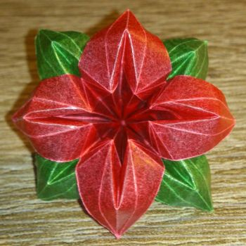 Red origami flower by LucaTheStar