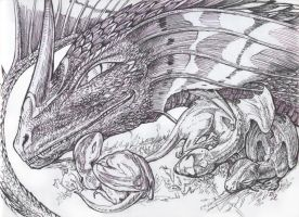 Dragoness with dragonlings by Segol-Hane