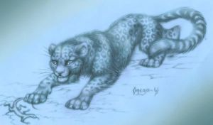 Snow leopard by OmegaLioness