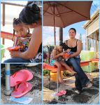Shave Ice Girl and Mom, Juxtaposed by seraphinx