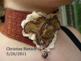 Ammonite Fossil Steampunk Collar of Leather by Black-Feather
