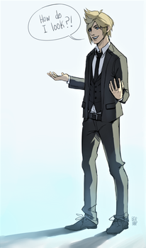 Prompto in a Suit by Bev-Nap