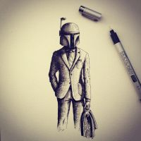 Boba Fett Sketch by LordColinOneal