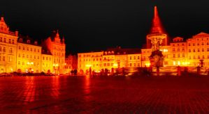 Main Square in Ceske Budejovice at Night01 by abelamario