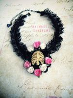Flowers and Ribs gothic choker by Verope