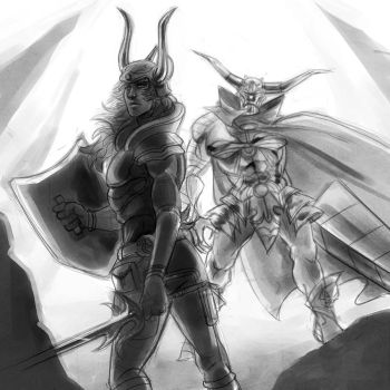 dissidia - wol and garland by spoonybards