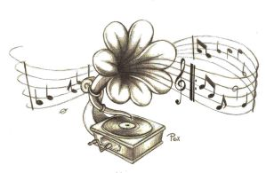 Gramophone-Flower Tattoo by AsDePique